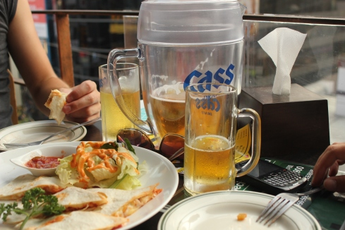 Seoul: Cass - Korean beer.