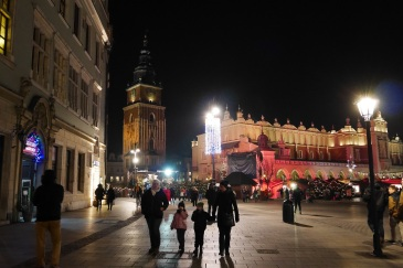 Marked place in the old town at night.