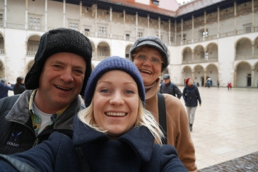 Happy travelers! Inside the Wavel castle.
