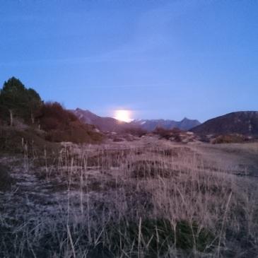 Fullmånen titter fram på Hornneset.