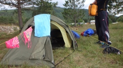 Our camp. Of course we could fit three people in this 2-persons tent!
