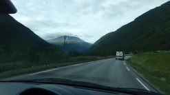 Driving to Rjukan, where the hike starts. Gaustatoppen is the mountain you see right there!